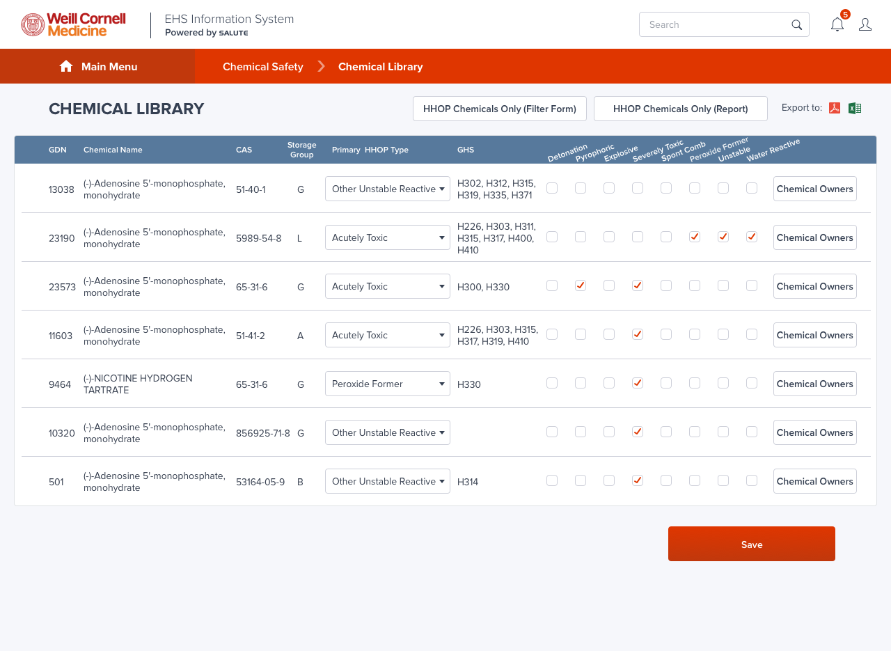 Chemical Safety/ChemTracker Chemical Library_All records